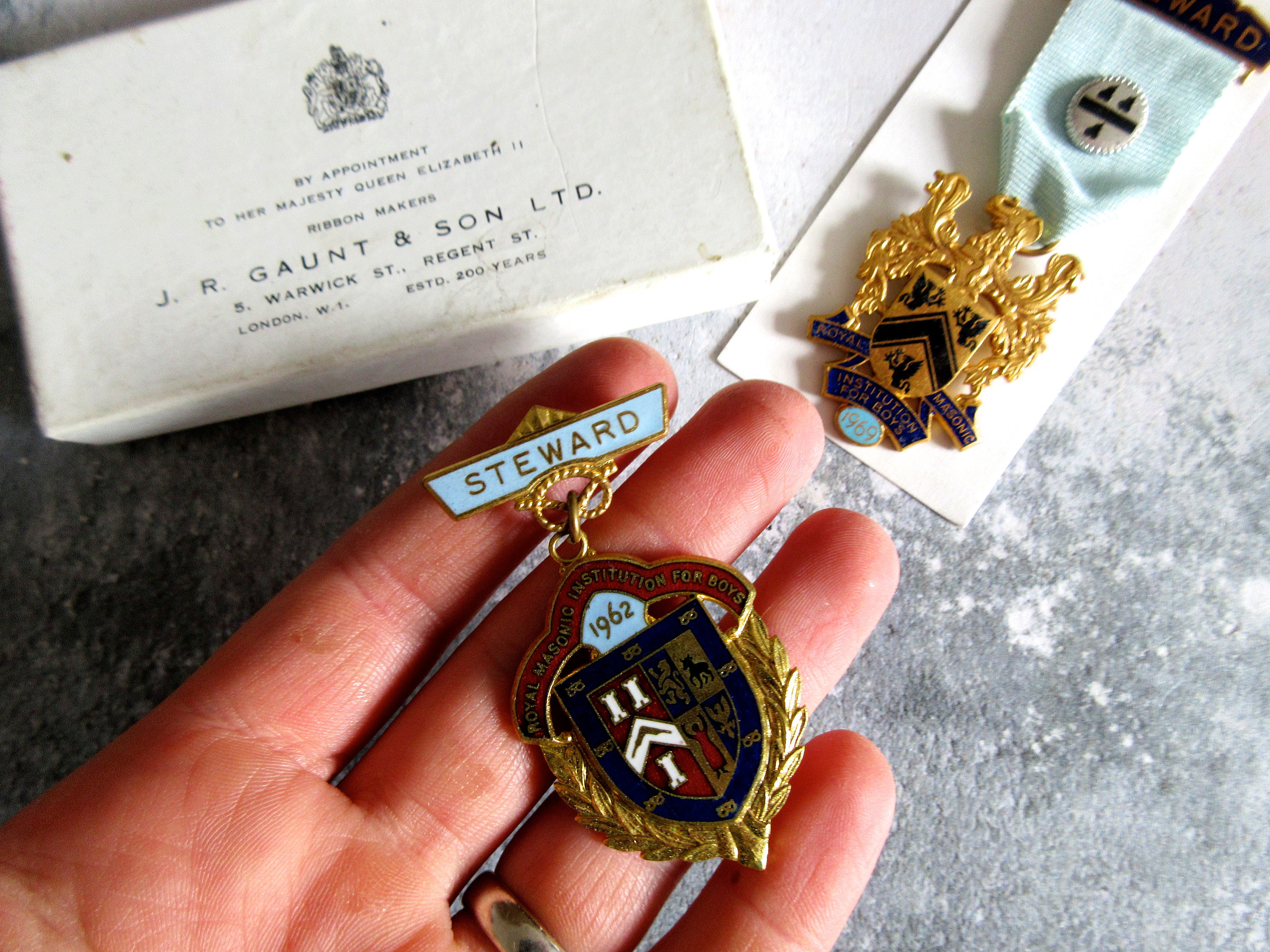 Pair Of 1960s Masonic Medals In Original Box
