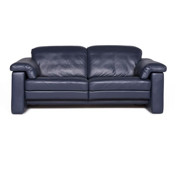 Rolf Benz Designer Leather Sofa Blue Two Seater Couch Function #8940 photo 1