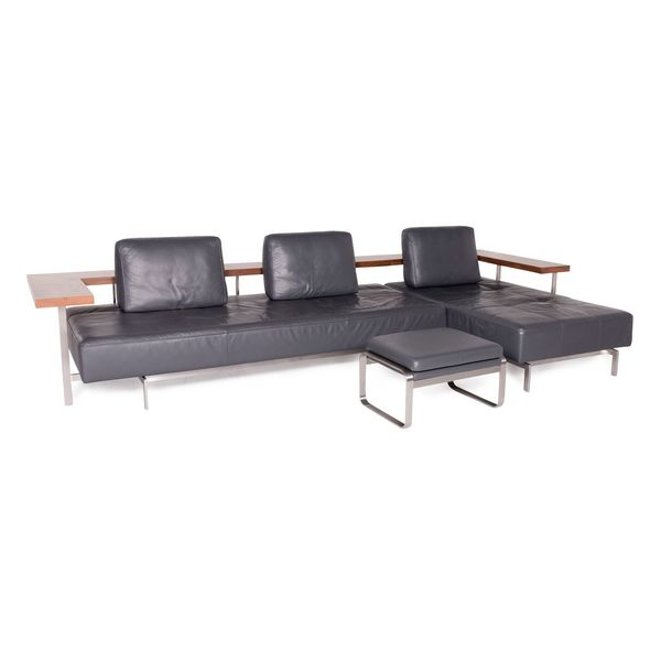 Rolf Benz Dono Designer Leather Corner Sofa Set Gray Genuine Leather ...
