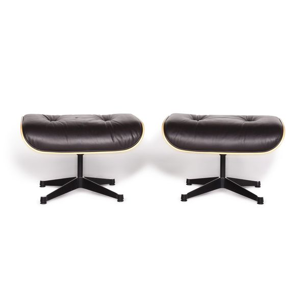 Vitra Eames Lounge Chair Designer Leather Stool Set Brown Charles