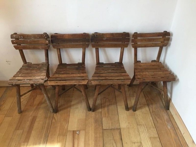 Marvelous 4X Antique Childrens Wooden Rustic Chairs Theyellowbook Wood Chair Design Ideas Theyellowbookinfo