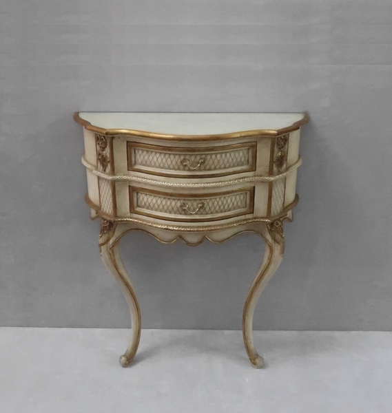 French Early 20th Century Shabby Chic Painted And Gilt Console Table