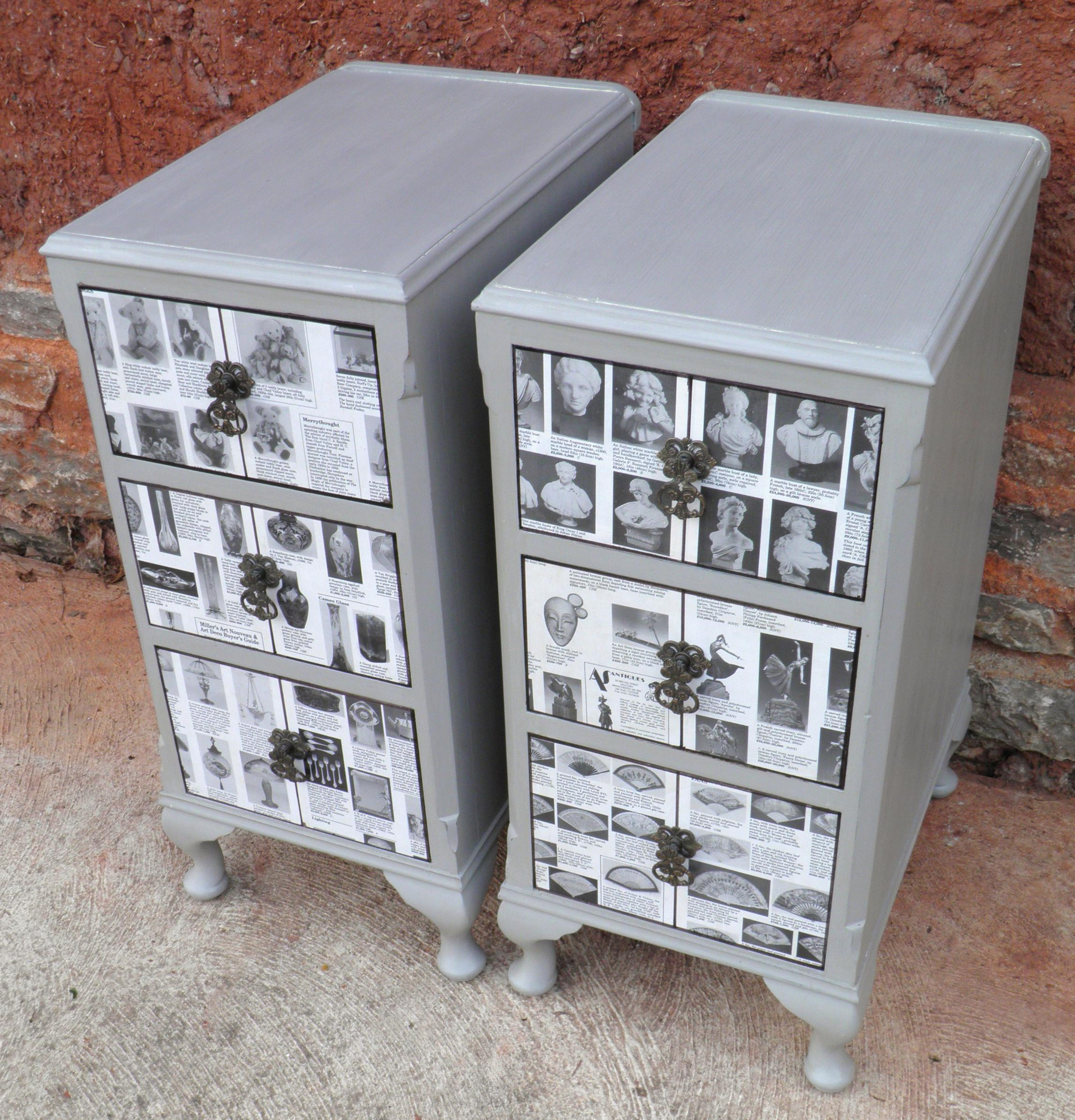 Upcycled Kitchen Cabinets: Pair Of Vintage Upcycled Bedside Cabinets