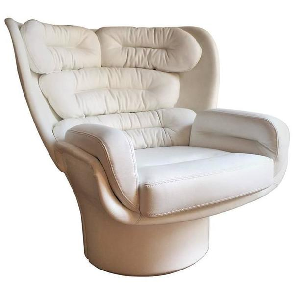 Joe Colombo Space Age Elda Lounge Chair Fiberglass Leather