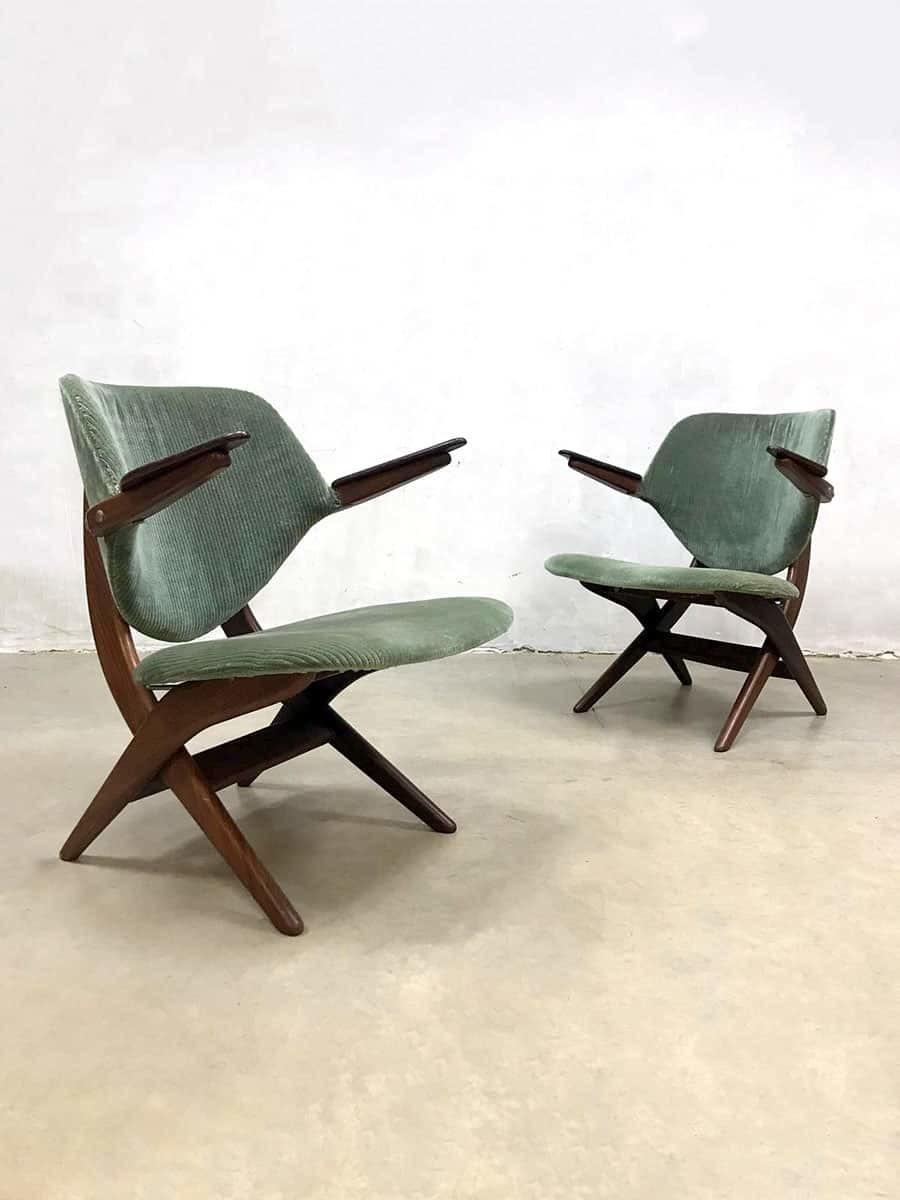 2 Vintage Fauteuils.Set Of 2 Vintage Dutch Design Pelican Armchair Fauteuil Webe Louis Van Teeffelen