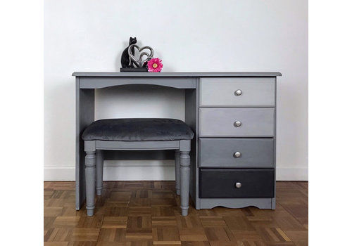 Multi Tone Grey Dressing Table With Matching Stool. Full .