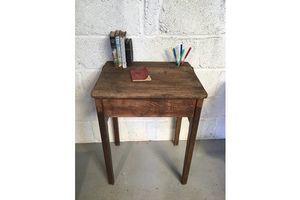 Thumb oak school desk old solid wood heavy 0