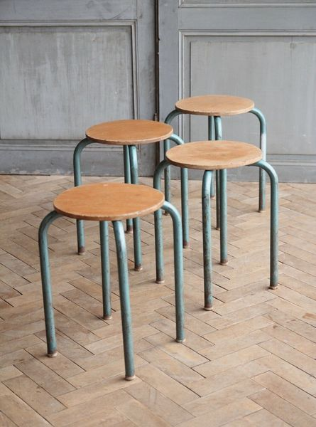 Superb Set Of Four Vintage French Industrial Metal Stacking Lab Stools Mid Century 1 Beatyapartments Chair Design Images Beatyapartmentscom