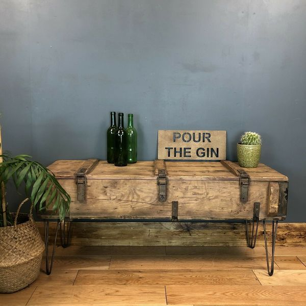 Groovy Vintage Reclaimed Pine Wooden Trunk Chest Box Rustic Coffee Table Window Seat Uwap Interior Chair Design Uwaporg