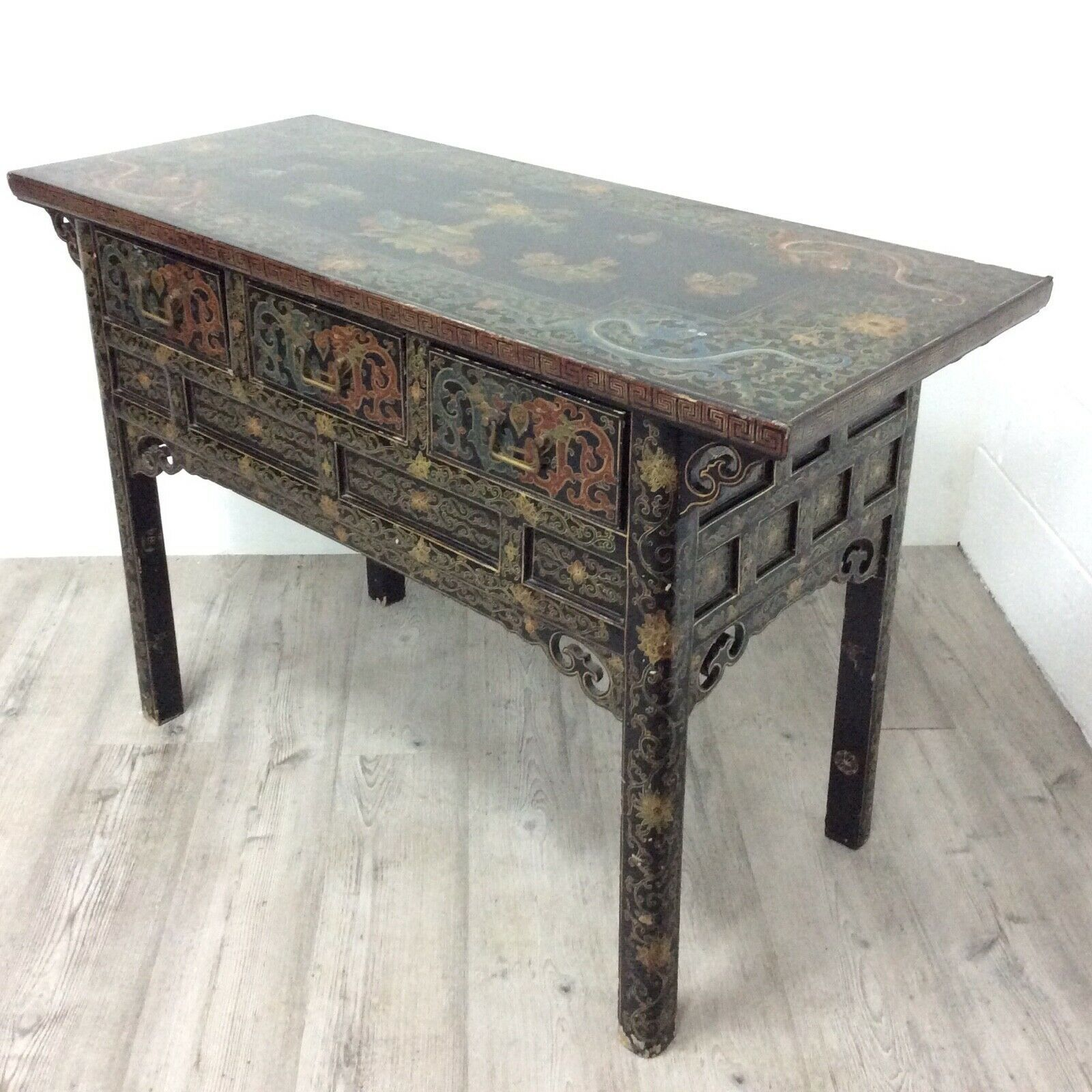 Antique Chinese Side Table Black Lacquer Cabinet With Hand Painted Panels