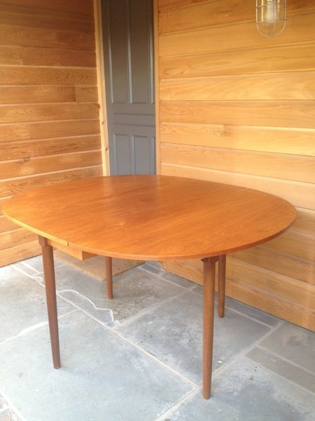 Teak Dining Table Double Drop Leaf With Flush Joints C1960s