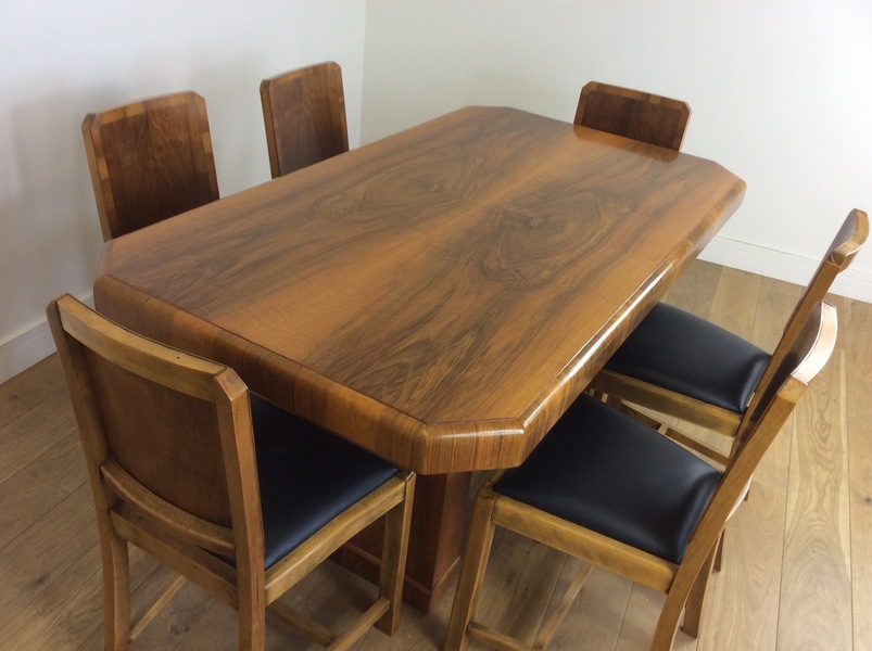 Art Deco Walnut Dining Table And Six Chairs