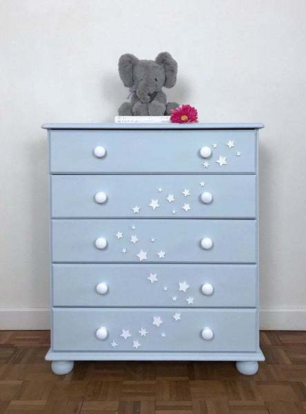 Light Blue Children's Chest Of Drawers With Wooden Star Motif. Hand Painted  Bedroom Furniture, Perfect For Nursery
