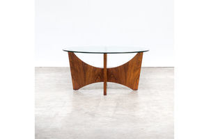Thumb 70s round wood framed coffee table with glass table top 0