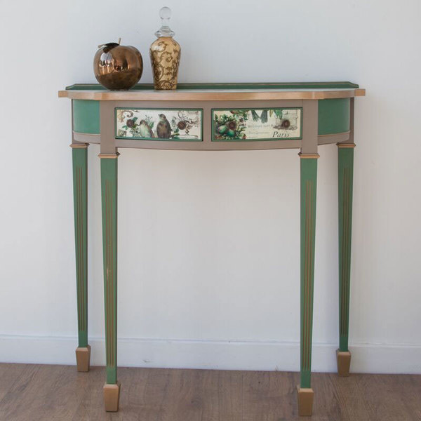 Demilune Console Table With Two Drawers With French Style Decoupage And Stencils