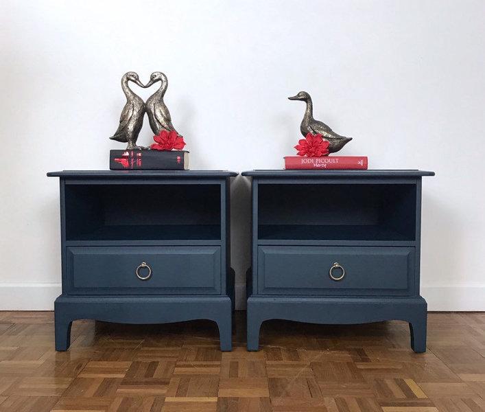 Dark Blue Bedside Drawers By Stag Minstrel. Chest Of Drawers And Bedside  Cabinets. Hand Painted Bedroom Furniture Set. | Stag Minstrel | Vinterior
