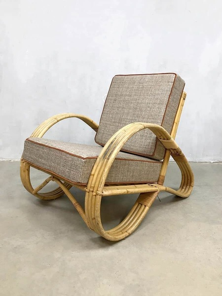large vintage design rattan armchair lounge armchair rattan chair paul frankl style 0