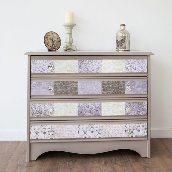 Patchwork Chest Of Drawers Decoupaged In Taupe And Cream With Clear Crystal Knobs photo 1