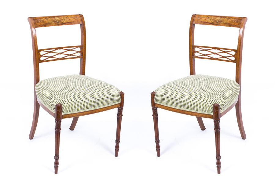 Antique Pair Satinwood Sheraton Revival Side Chairs C1880