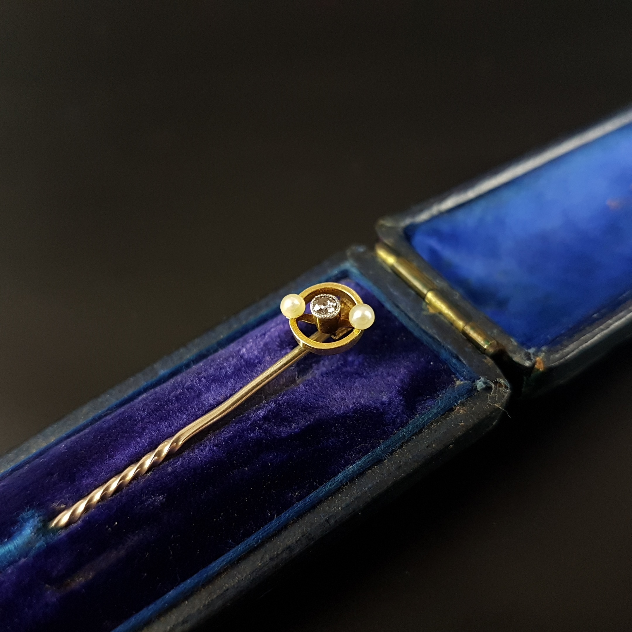 f4497030c71 Art Deco Edwardian 15ct Gold Platinum Seed Pearls Diamond Tie Pin Target  Stick Pin   Unknown   British   Vinterior