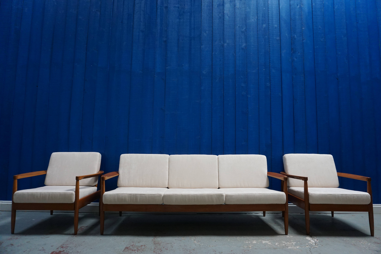 3 1 1 Mid Century Modern Danish Living Room Set Sofa And Armchairs