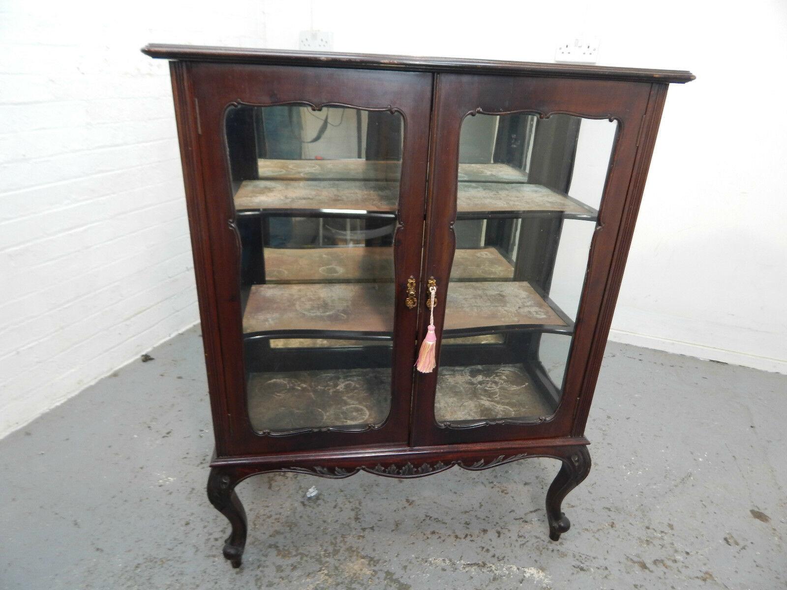 Antique Victorian Mahogany Bookcase Cabinet Glazed Doors Cabriole Legs Shelves
