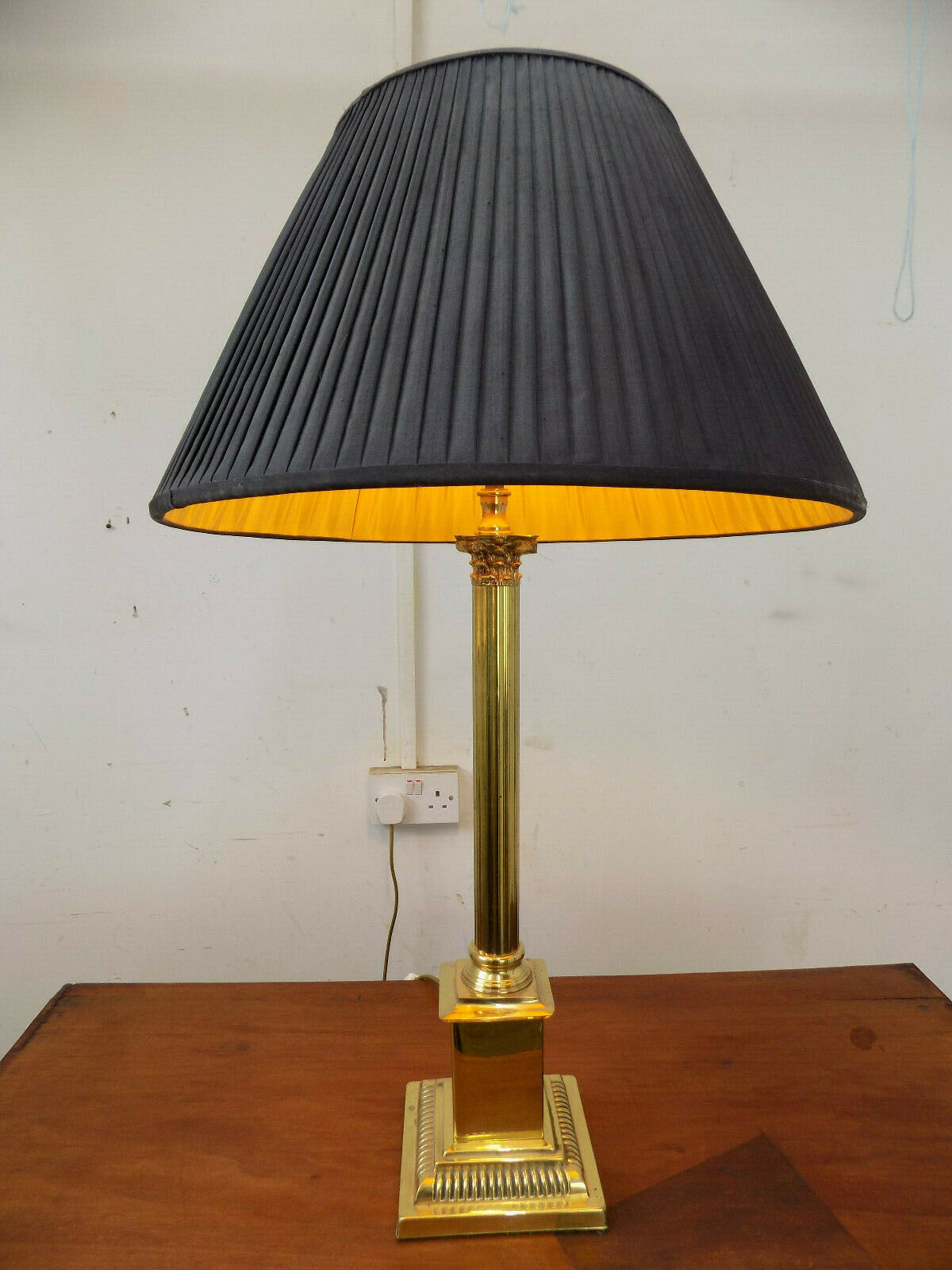 Table Lamp,Antique,Repro,Black Shade