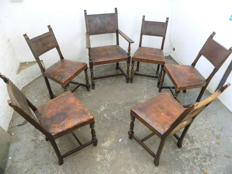 Six Vintage Oak Dining Chairs Leather Seats Carver Room Cottage