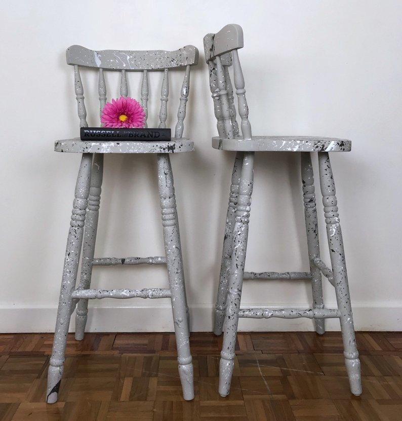 Solid Wood Light Grey Set Of Bar Stools With Eye Catching Paint Splatter Graffiti Finish Hand Painted Kitchen Chairs Matching