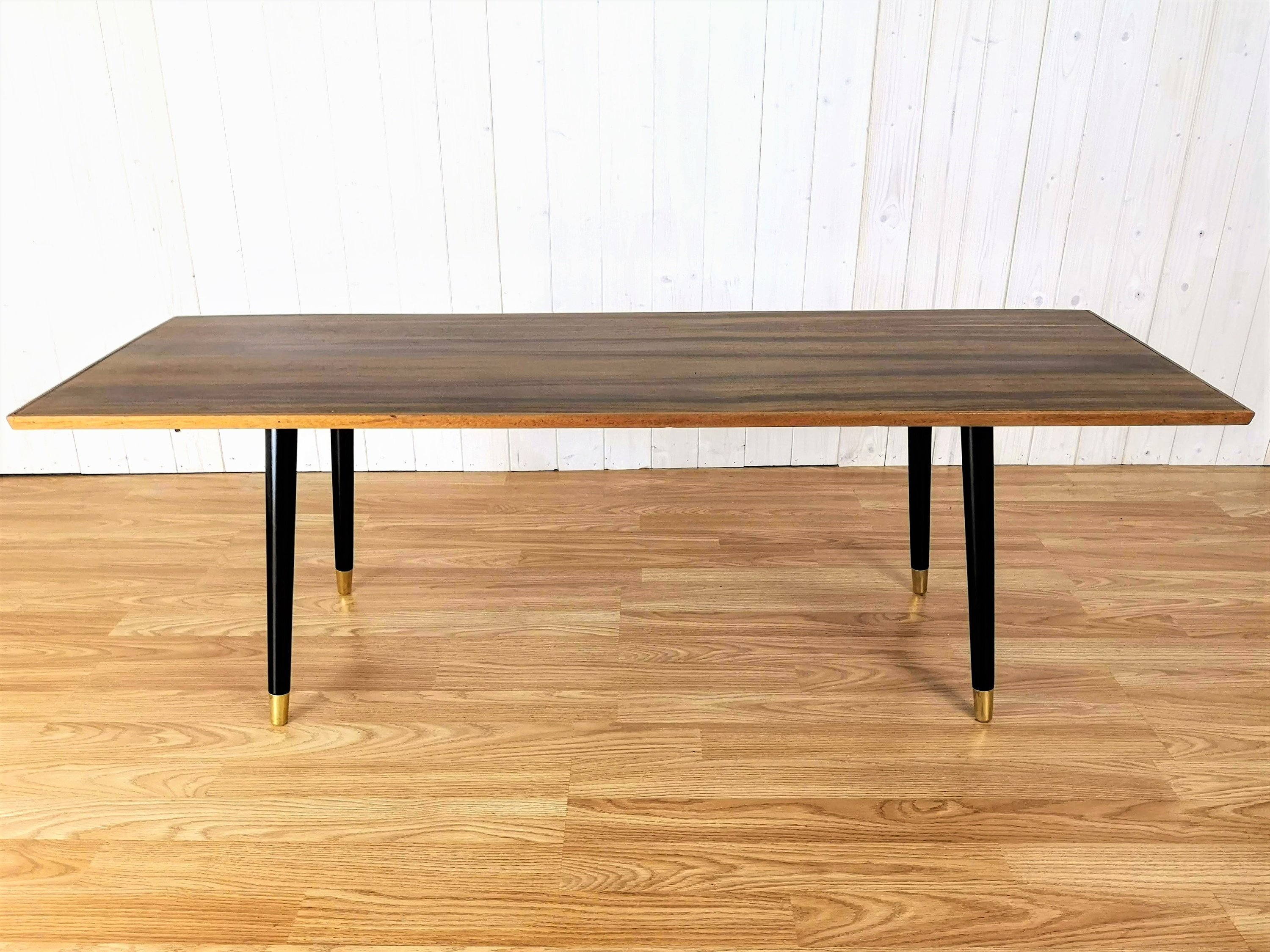Mid Century Long Coffee Table Vintage Walnut Rectangular Table Retro Low Side Table With Dansette Legs