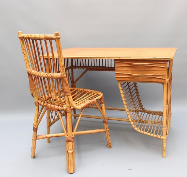 Rattan Desk Vanity Table And Chair By Louis Sognot Circa 1950s