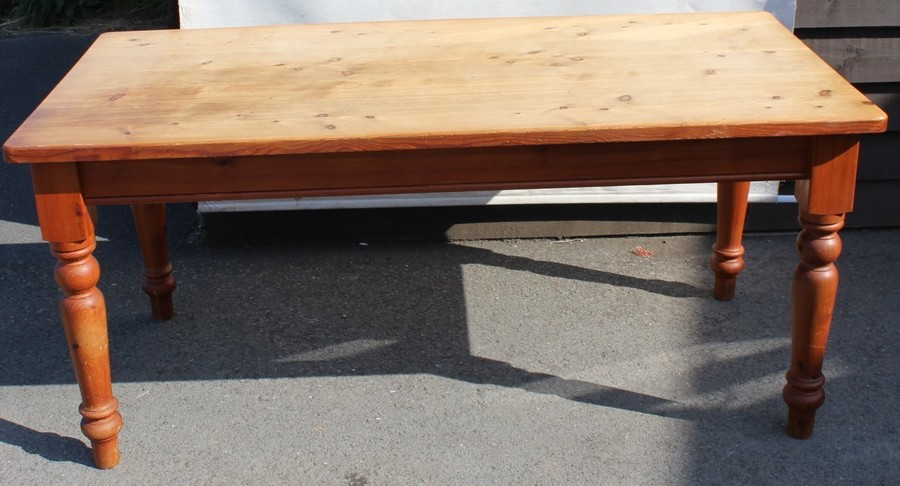 ... 1960s Country Antique Pine Table On Turned Leg Photo 1 ...