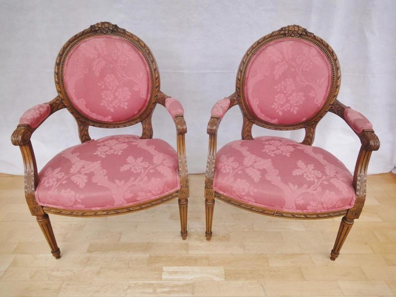 Pair Of Antique Style French Louis Xv Carved Mahogany Armchairs