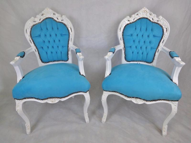 Pair Of Antique Style French Louis Xv Vintage Painted Upholstered Armchairs