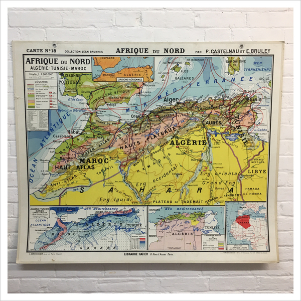 Map Of Africa 1960.French Hatier Vintage Map Of North Africa