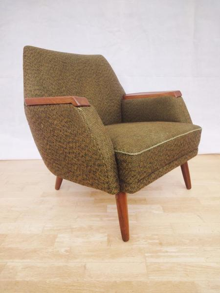 Retro Vintage Early Danish Teak & Woolen Easy Lounge Arm Chair 1950s