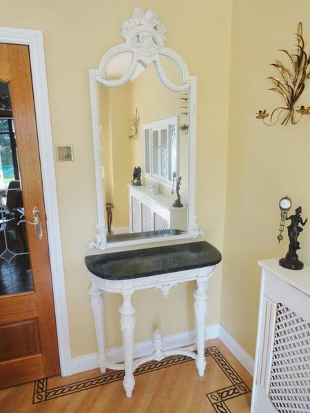 Antique Style French Painted Demi Lune Marble Top / Matching Mirror photo 1