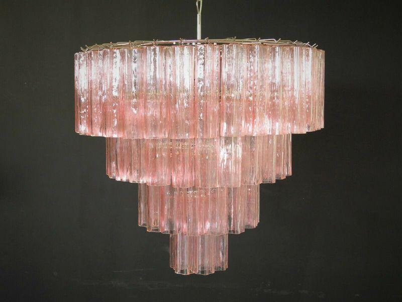 Huge Vintage Murano Glass Tiered Chandelier 78 Pink Glasses | Vinterior