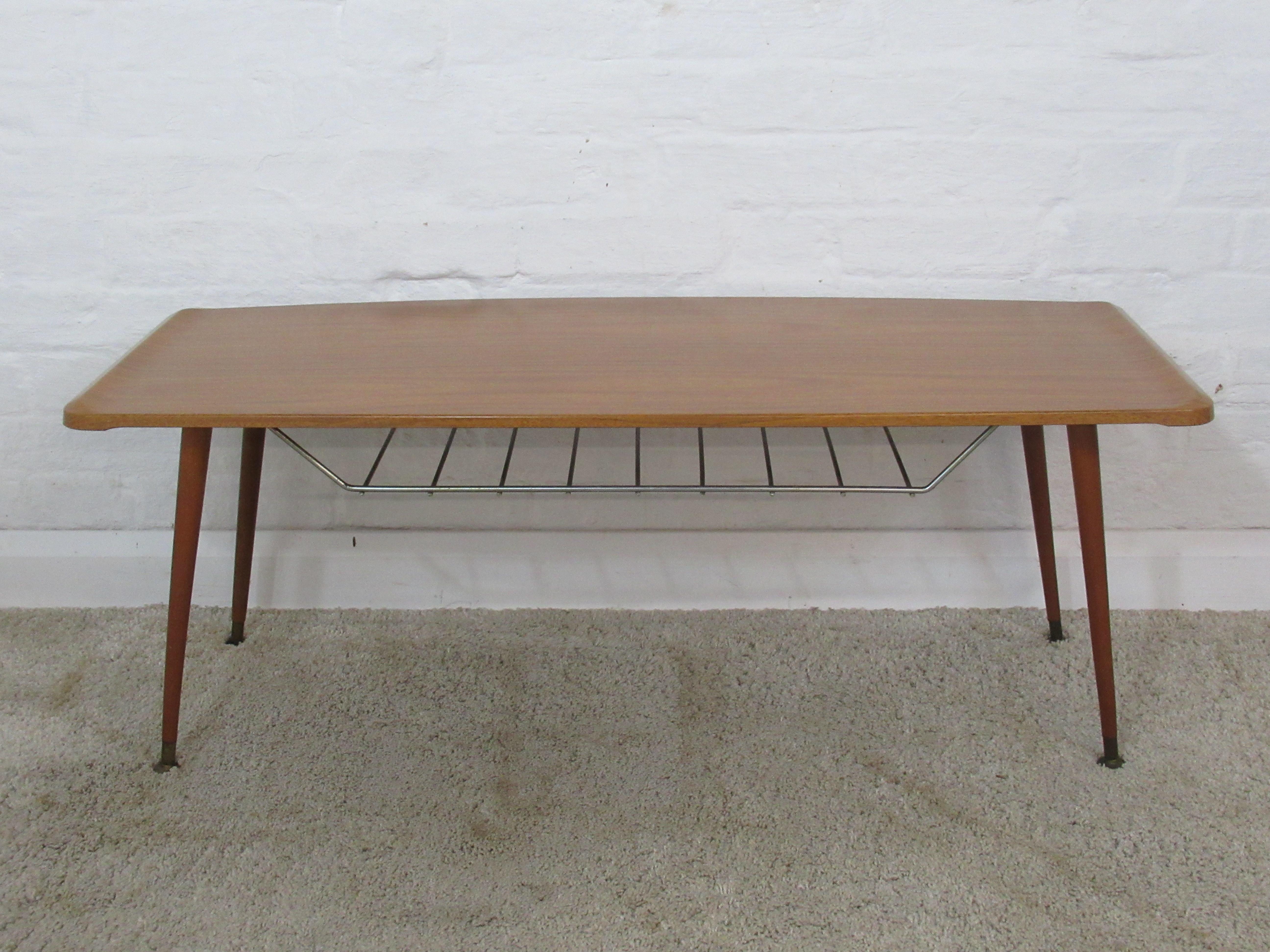 Retro Formwood Wood Effect Melamine Coffee Table With Suspended Metal  Undershelf