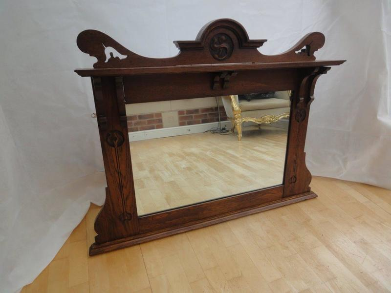 Antique Arts And Crafts Overmantle Mirror In The Liberty Taste