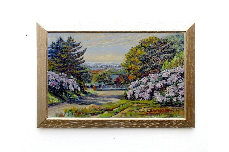 English Country Landscape Vintage Oil Painting Signed Framed Painting photo 1