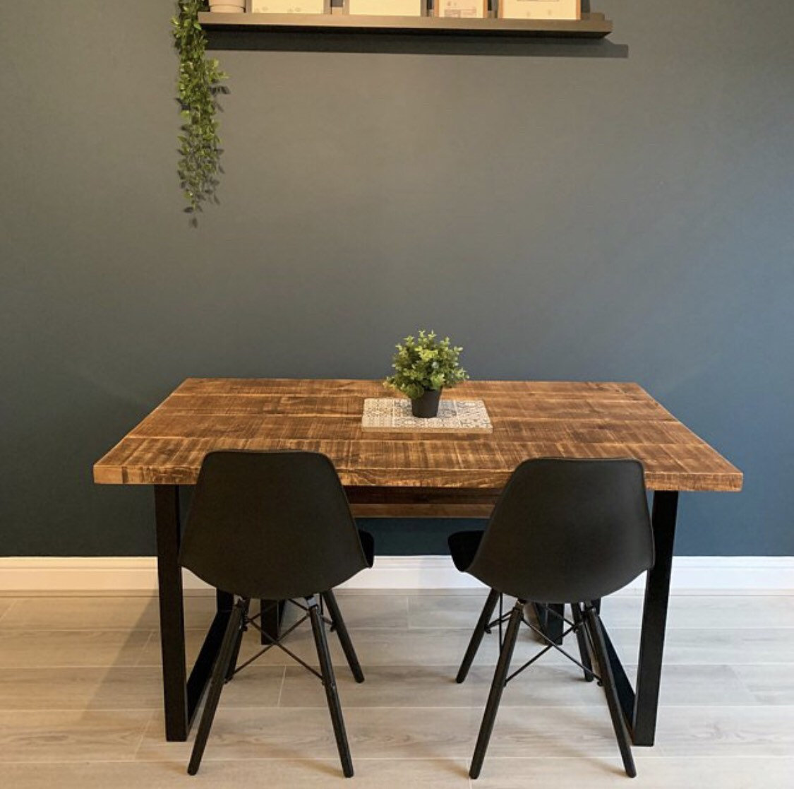Admirable Table And Bench Package With Square Loop Legs Rustic Reclaimed Industrial Style Dining Table Home Interior And Landscaping Eliaenasavecom
