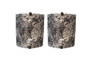 Thumb 1960s pair of wall sconces by de majo murano with dynamic black glass design 0