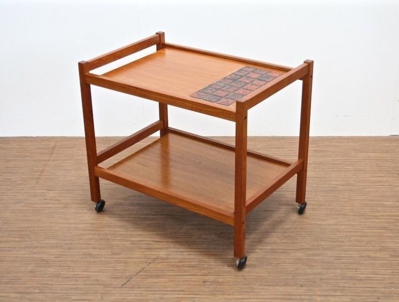 Mid Century Vintage Service Trolley With Tile Inlay
