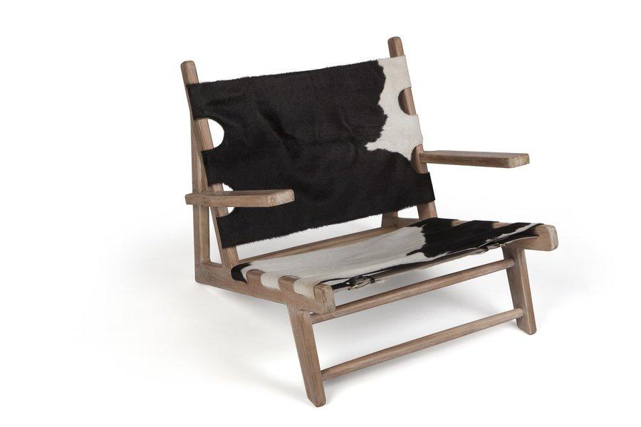 Teak & Hide Lounge Chair