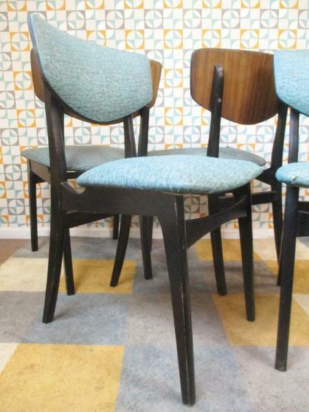 Astounding Set Of 4 Vintage 60S Dining Chairs Black Teak Blue Vinyl Mid Century Retro Lamtechconsult Wood Chair Design Ideas Lamtechconsultcom