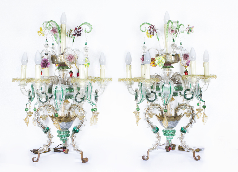 Antique Pair Venetian 7 Light Table Top Chandeliers Murano