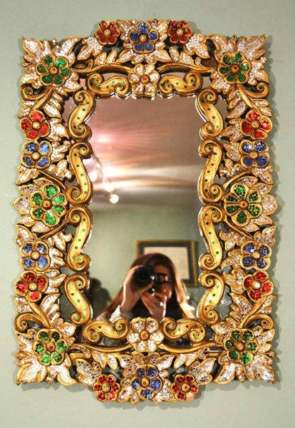 Beautiful Mirror Bordered With Precious Stones