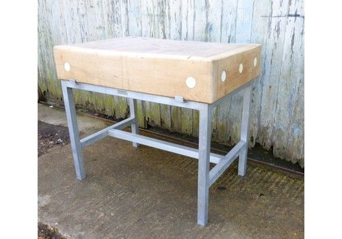 Industrial Butchers Block On Stand