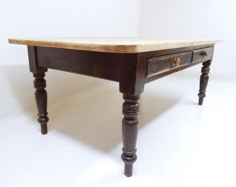 Large Pine Antique Farmhouse Kitchen Table
